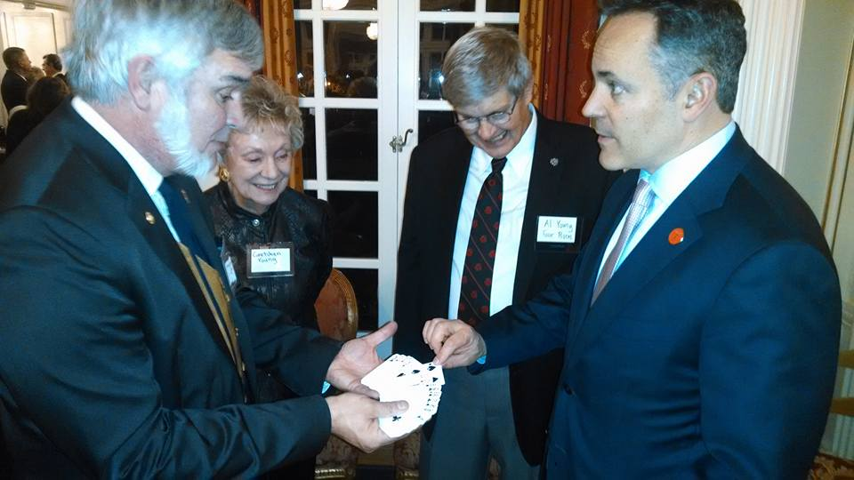 I did a little magic for Gov Bevin at the Gov. Mansion Friday night.